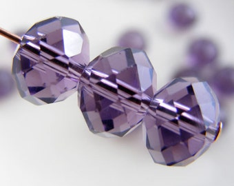 8x6mm Crystal Beads Faceted Rondelles Purple Abacus (Qty 12) MW-8x6R-PRP