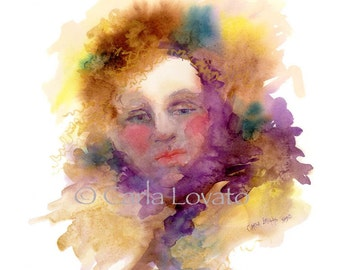 Watercolor Painting Spirit Art - Giclee Print  -  Titled Wisp - Goddess art sprite spiritual
