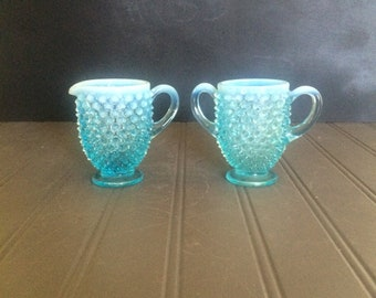 Vintage Blue Fenton Opalescent Hobnail Sugar and Creamer Set