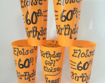 60th Birthday Personalized Party Cups