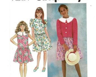 Simplicity 7693 Girls DRESS Low Waist Sleeveless, or Culotte Dress & JACKET Sewing Pattern, Size 7 8 10, Breast 26 27 28, Vintage UNCUT