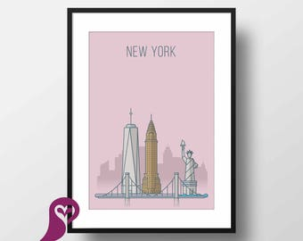 New York Buildings Poster   NYC   Liberty Statue   Architecture   Wall Art   Wall Decor   Home Decor   Prints   Poster   Digital Download