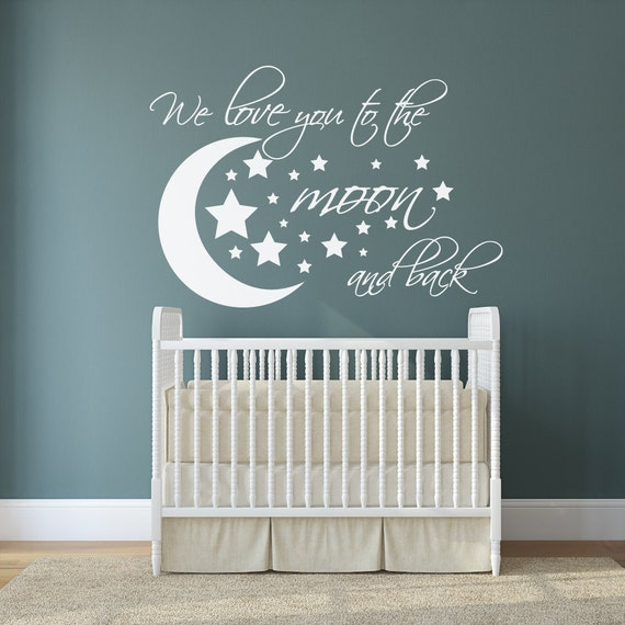 we love you to the moon and back wall decal i love u to the. Black Bedroom Furniture Sets. Home Design Ideas