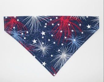 Patriotic Fireworks with Stars | Over the Collar Bandana