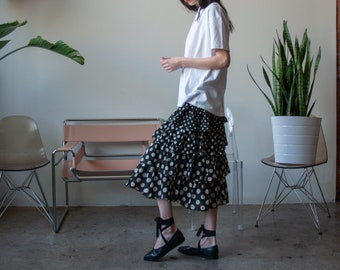 black white cotton gauze midi skirt / polka dot tiered skirt / s / m / 3636t /