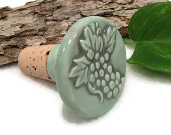 Ceramic Wine Stopper - Warm Mint Green