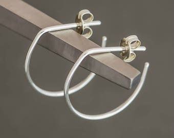 Minimalist Circular Round Hoop Earrings Sterling Silver. Small. Boho Urban Gypsy Sleek Elegant. Eco Recycled Reclaimed Everyday Design