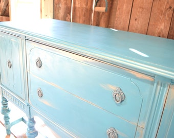 buffet, blue dresser, vintage sideboard: blue buffet; blue sideboard; coastal decor; shabby chic; chalk paint; dining room furniture;