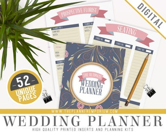 Ultimate Wedding Planner Organizer Kit - Instant Download - Printable DIY - 48 Unique Pages - To Do List, Budgets and More - Wedding Binder