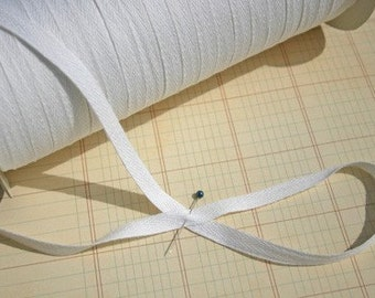 "White Cotton Twill Tape Trim - Sewing Shipping Packaging - 3/8"" Wide"