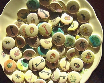 Handmade Wedding Favors -mighty oaks from little acorns grow-100 Handmade 1 Inch Pinback Buttons