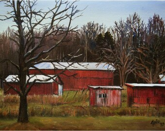 Red Barns Original Oil Painting - 12x9in Kentucky Painting On Sale
