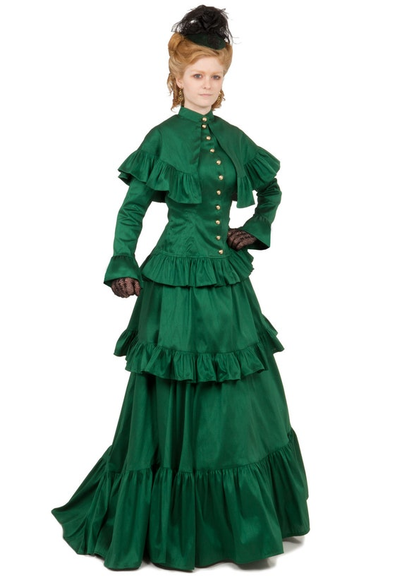 1890s-1900s Fashion, Clothing, Costumes Victorian Dupioni Cape Jacket and Skirt Ensemble $250.00 AT vintagedancer.com