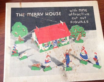 Toy Playhouse Set 3-D Play Set- The Merry Little House 9 Figures Complete/Stands Great Shape Inc.Directions All Original Antique 3D Play Set