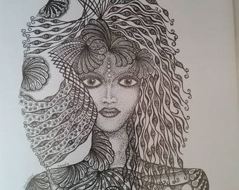 Amanda. A print.  A beautiful lady designed with the waves and the sea in mind.