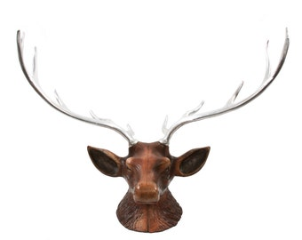 LARGE & Unusual Cast Elk Head with Aluminum Antlers