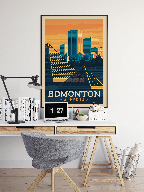 Edmonton Alberta Canada Vintage Travel Poster, vintage print, wall ...