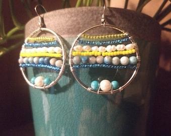 Jasper Bead, Blue Earrings, Yellow Glass Bead, Freshwater Pearl Jewely, Beach, Boho,