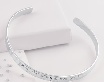 Silver memorial handwriting engraved torque bangle-pet ashes-memorial jewellery-ashes jewelry-memorial bracelet-ashes jewelry-ashes-UK