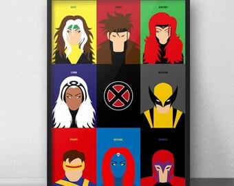 Xmen Minimalist Poster, Wolverine, Magneto, Gambit, Storm, Jean Grey, Wolverine Print, Xmen Wall Art, Xmen Print, Rogue, Mystique, Cyclops