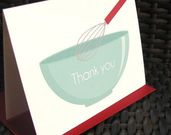 Thank you card, baking party note card, retro thank you card, cooking party thank you card, baking stationery, foodie card, baking note
