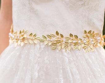 Gold Leaf Belt Bridal Belt Gold Bridal Belt Gold Sash Bridal Sash Goddess Sash Pearl Sash Grecian Belt Ancient Greek Belt Gold Belt #20