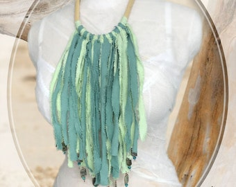 On the Fringe — Fringe Bib Necklace Accessory with Beautiful Beaded Edges on Hammered Copper Studs, Super Long Fringe Accessory