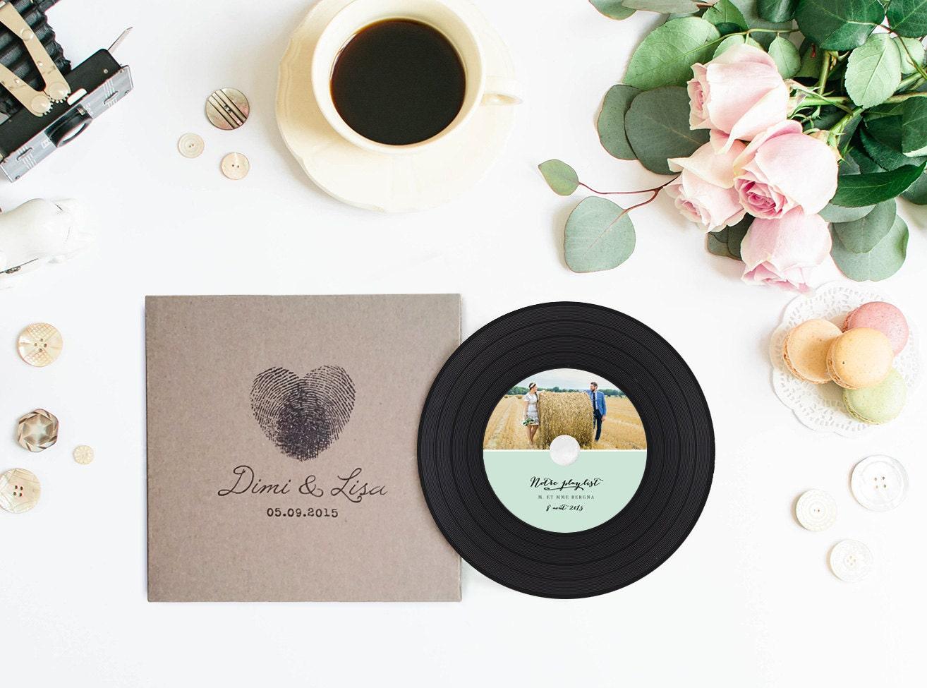 Vintage Vinyl CDs and Sleeves Kraft CD Wedding Favors Custom