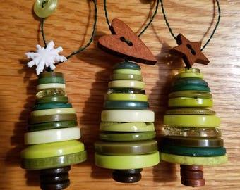 Trio of Button Christmas Tree Ornaments