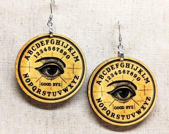 Spirit Board Earrings / Psychic Earrings / Eye Earrings / Sci-fi Magic / Witch Accessories / Wiccan Jewelry / Eye Jewelry / Gypsy Earrings