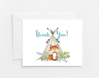 Fox Thank You Card, Printable Card (722)