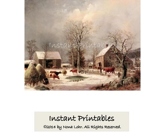 Currier Ives Winter Scene Vintage, 8x10,11x14,16x20,Painting Art Print Wall Decor INSTANT DOWNLOAD Digital Farmyard in Winter,Printable Art