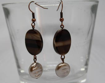 Brown Striped Earrings