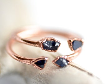 READY to SHIP. Copper Electroformed Raw Blue Sapphire Ring. Open Front Adjustable Blue Sapphire Ring. Sapphire ring.