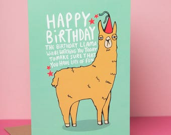 Birthday Llama - Greeting card - Designed and printed in the UK - Funny card - Humour - Humor - animal card - Katie Abey