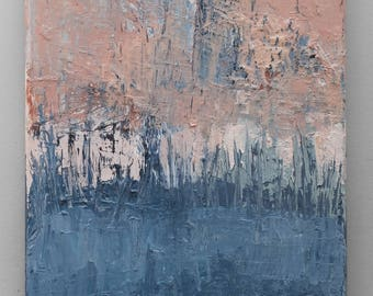 Contemporary Wall Art, Modern Art,peach and sky- blue , cambridge blue,  oil painting , canvas art, Abstract Texture, palette knife,