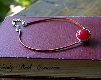 Sunset Fae Orb Choker Necklace - Steampunk, Red Necklace, Leather Cord, Orange, Fall Accessories