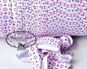 "STARS Red / White / Blue Fold Over Elastic 4th of July Printed FOE - 5/8"" 2, 5, 10 Yards. DIY Headband Supplies"