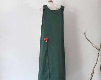 made to order slim shoulder linen dress with  poppy flower / linen slip dress / linen long dress / custom linen dress