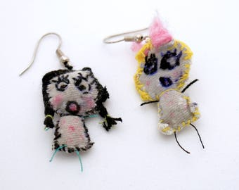 Miniature doll earrings handmade