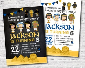 Egypt Invitation, Egyptian Birthday Invitation for boys and girls, Egyptian Party, Adventure Birthday, Digital Printable Invites, 2 options