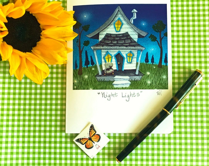 NIGHT LIGHTS Greeting Card with Envelope| Thinking of you Cards | Inspirational Greeting Cards | Housewarming Cards | Friendship Cards | 5x7
