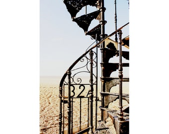 Architecture Photography - Spiral Staircase Print - Beach Photograph - Aldeburgh Stairs - English Seaside Art - 8x12