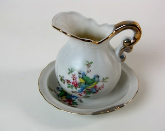 Vintage Mini Pitcher and Bowl / Hand Painted / Birds / Gold Trimmed / White Ceramic