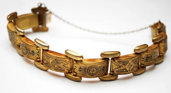 Damascene Link Bracelet  Gold brass and Black enameling   floral design bangle