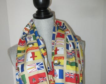 Fabric scarf, infinity scarf, circle scarf, cotton scarf, Canada provinces, Canada scarf, Flags scarf, Provincial flags, Provinces of Canada