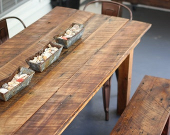 Farm House Table: Made from Salvaged Wood WITH Benches