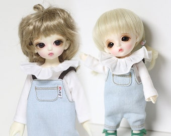 Frilly T-shirt  for yosd and 16cm Tiny BJD: PukiFee Lati Yellow Tiny Delf & similar sized dolls