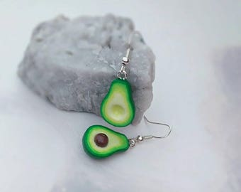 Avocado inspired dangle earrings, miniature,  Earrings, Kawaii, for her, gift idea, fun accessories, all ages