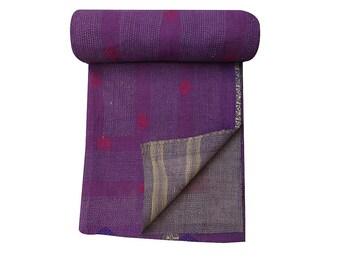Vintage Handmade Stripe  Kantha Quilt Sari Patchwork Kantha Quilt